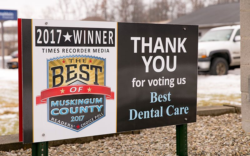 Thank You Banner Outside Hawkins Complete Dental Service in Zanesville, OH